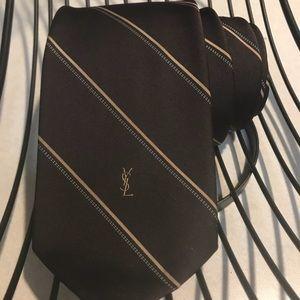Accessories - YSL vintage chocolate brown tie